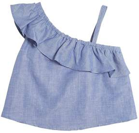 Milly Minis Cotton & Linen Blend Chambray Top