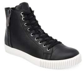 Calvin Klein John Pebbled Leather High-Top Sneakers