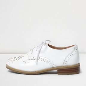 River Island Girls white laser cut brogues