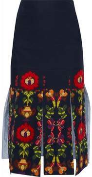 Stella Jean Embroidered Printed Cotton-Blend Twill Skirt