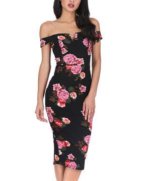 AX Paris Black Floral Notch Off-Shoulder Dress - Women