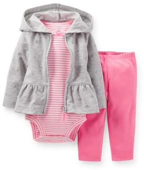 Carter's Hooded Cardigan Set Heather Grey w/ Pink 24M