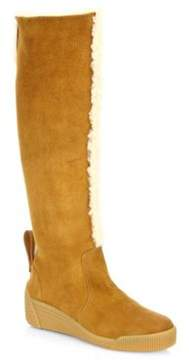 See by Chloe Daria Tall Shearling & Suede Wedge Boots