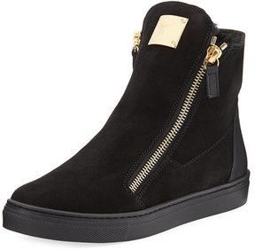 Giuseppe Zanotti Girls' London Laceless Suede High-Top Sneaker, Youth