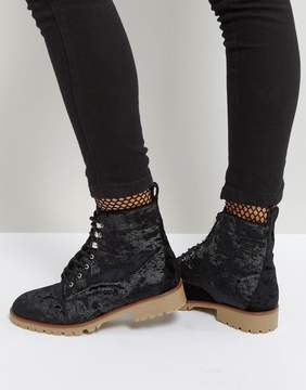 Qupid Velvet Flat Hiker Boot