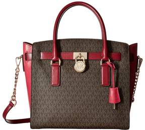 MICHAEL Michael Kors Hamilton Large East/West Satchel Satchel Handbags - BROWN/MULBERRY/CREAM - STYLE