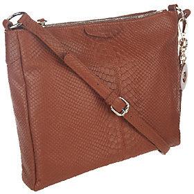 Isaac Mizrahi Live! Bridgehampton Leather Snake Double Zip Bag