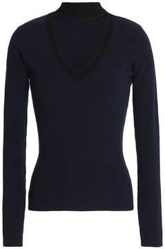 Autumn Cashmere Cutout Ribbed Wool-Blend Sweater