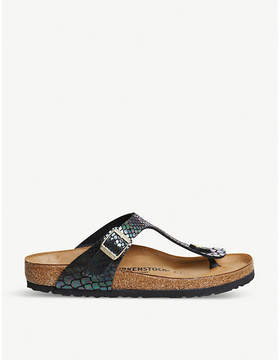 Birkenstock Thong iridescent reptile faux-leather sandals