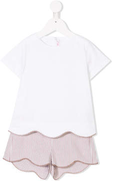Il Gufo scalloped top and shorts set