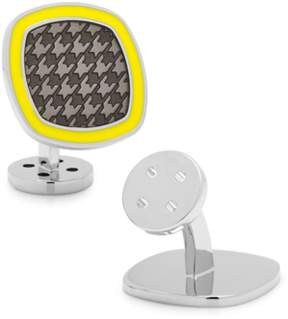 Ravi Ratan Palladium Black And Yellow Houndstooth Cufflinks.