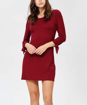 Bellino Burgundy Tie-Accent Shift Dress - Women