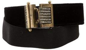 Lanvin Velvet Jewel-Embellished Belt