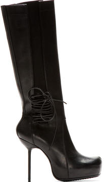Rick Owens Black Leather Stiletto Wader Boots