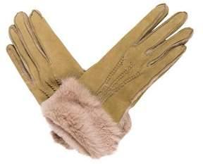 Neiman Marcus Fur-Trimmed Suede Gloves