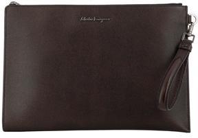 Salvatore Ferragamo Brown Leather Evolution Pochette