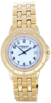 Raymond Weil 5560 Elegant White Date Dial Gold-Tone Stainless Steel Mens Watch