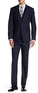 Perry Ellis Blue Check Two Button Notch Lapel Slim Fit 3-Piece Suit