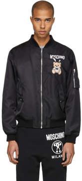 Moschino Black Toy Bear Playboy Bomber Jacket