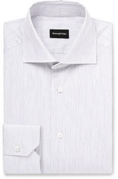Ermenegildo Zegna Cutaway-Collar Striped Cotton Shirt