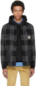 Junya Watanabe Grey and Black Carhartt Edition Check Wool Jacket