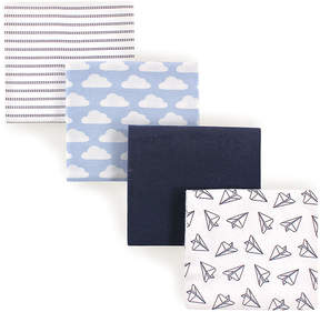 Hudson Baby Blue Paper Airplane Receiving Blanket - Set of Four