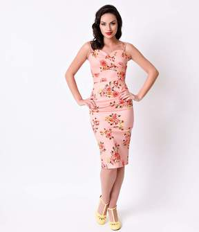 Stop Staring 1950s Pin-Up Pink Digital Floral Arana Wiggle Dress