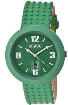 Crayo Jazz Teal Dial Teal Leather Ladies Watch