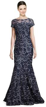 David Meister Embroidered Lace Illusion Mermaid Gown.