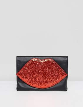 Lulu Guinness Red Glitter Lips Foldover Clutch Bag