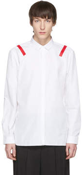 Neil Barrett White and Red Taped Shoulder Shirt