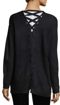 Dex Melange-Knit Cardigan w/Lace-Up-Back