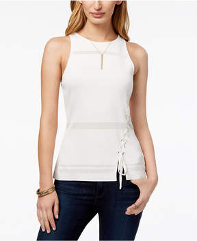 Bar III Shadow-Striped Lace-Up Top, Created for Macy's