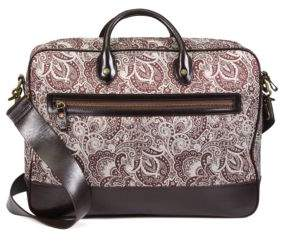 Robert Graham Everett Leather-Trimmed Paisley Fabric Briefcase