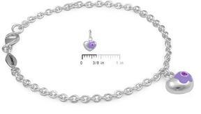 Ice Silver June Birthstone Flower Heart Charm Girls Bracelet (5 1/2 or 6 1/2 In)