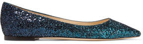 Jimmy Choo Romy Dégradé Glittered Leather Point-toe Flats - Teal