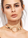 Gold Plated Hollow Metal Circle Choker Necklace
