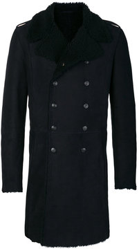 Pierre Balmain shearling lined double breasted coat