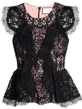 Alexis Ruffled Corded Lace Peplum Top