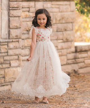 Aletta Ivory Floral Gown - Toddler & Girls