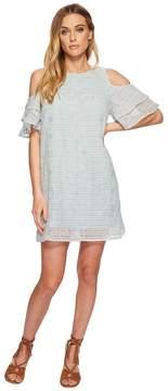 J.o.a. Tiered Sleeve Cold Shoulder Shift Dress Women's Dress