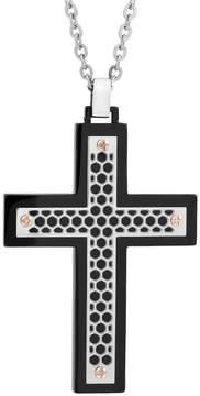 Lynx Stainless Steel Tri-Tone Cutout Cross Pendant Necklace - Men