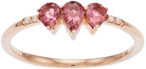 Lauren Conrad 10k Rose Gold Tourmaline & Diamond Accent 3-Stone Teardrop Ring