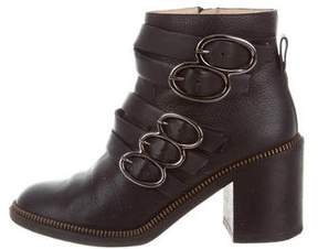 Jerome C. Rousseau Leather Buckle Ankle Boots