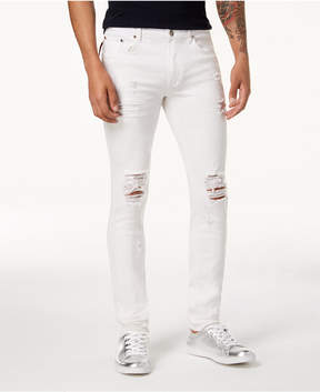 Reason Men's Slim-Fit White Ripped Jeans