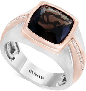 Effy Men's Smoky Quartz (4 ct. t.w.) & Diamond (1/10 ct. t.w.) Two-Tone Ring in Sterling Silver & Rose Rhodium-Plate
