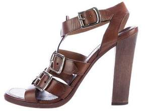 Alaia Leather Buckle-Accented Sandals