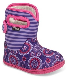 Bogs Infant Girl's Baby Classic Pansies Washable Insulated Waterproof Boot