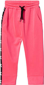 Diadora Fluro Pink And Black Tech Fabric Branded Side Track Bottoms