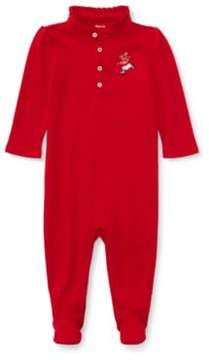 Polo Ralph Lauren Bear Footed Coverall Park Ave Red 3M